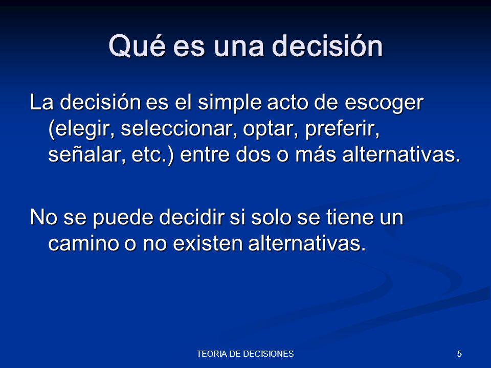 Qué es una decisión La decisión es el simple acto de escoger (elegir, seleccionar, optar, preferir, señalar, etc.) entre dos o más alternativas.