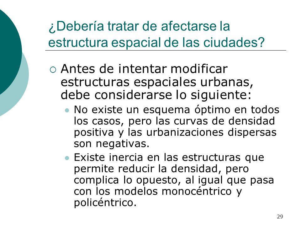 ¿Debería tratar de afectarse la estructura espacial de las ciudades