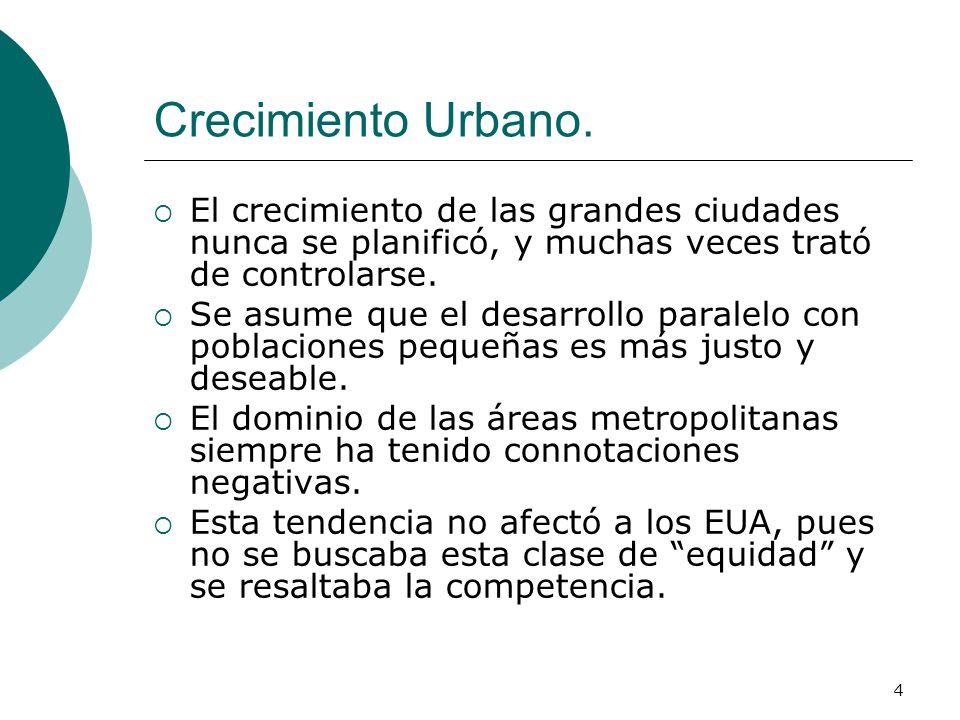 Crecimiento Urbano. El crecimiento de las grandes ciudades nunca se planificó, y muchas veces trató de controlarse.