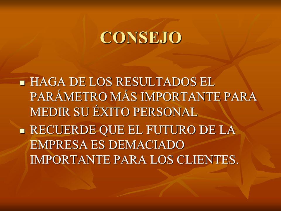 CONSEJO HAGA DE LOS RESULTADOS EL PARÁMETRO MÁS IMPORTANTE PARA MEDIR SU ÉXITO PERSONAL.
