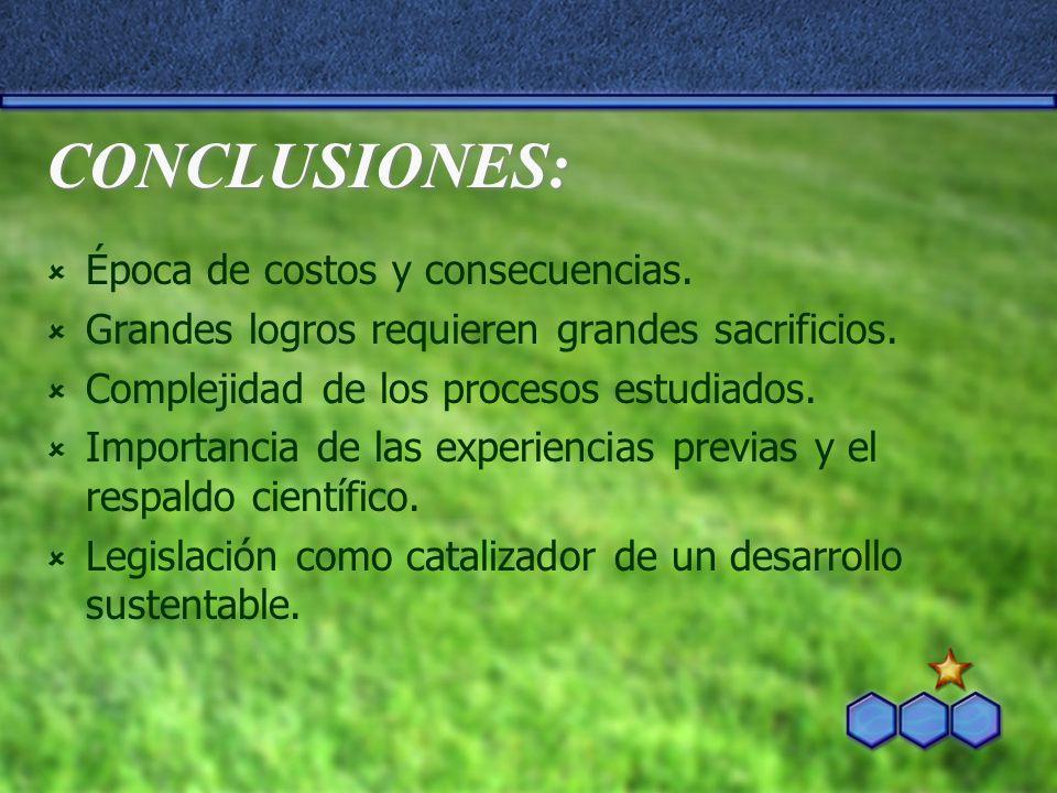 CONCLUSIONES: Época de costos y consecuencias.