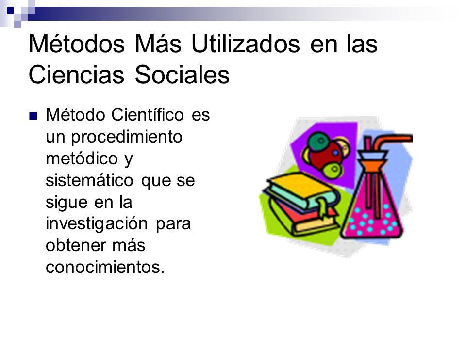 Métodos Más Utilizados en las Ciencias Sociales