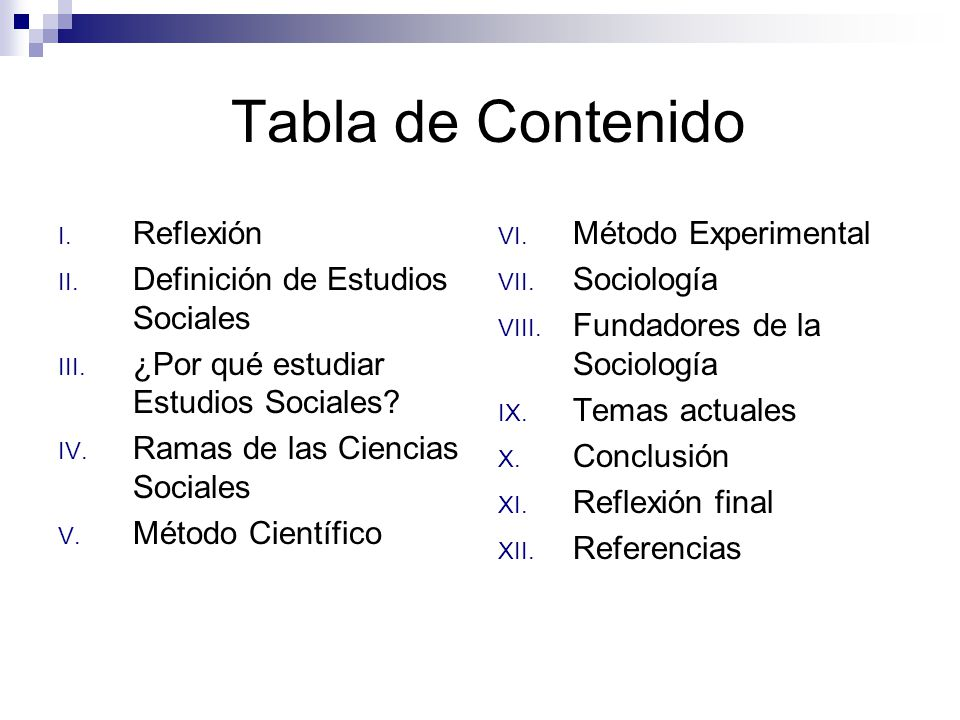 Tabla de Contenido Reflexión Definición de Estudios Sociales