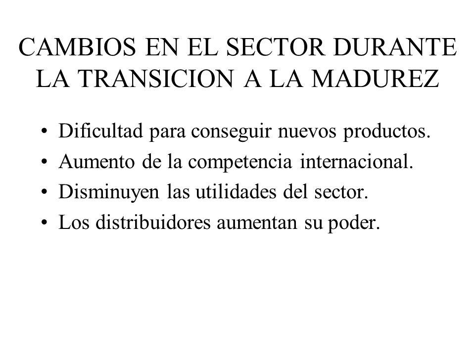 CAMBIOS EN EL SECTOR DURANTE LA TRANSICION A LA MADUREZ