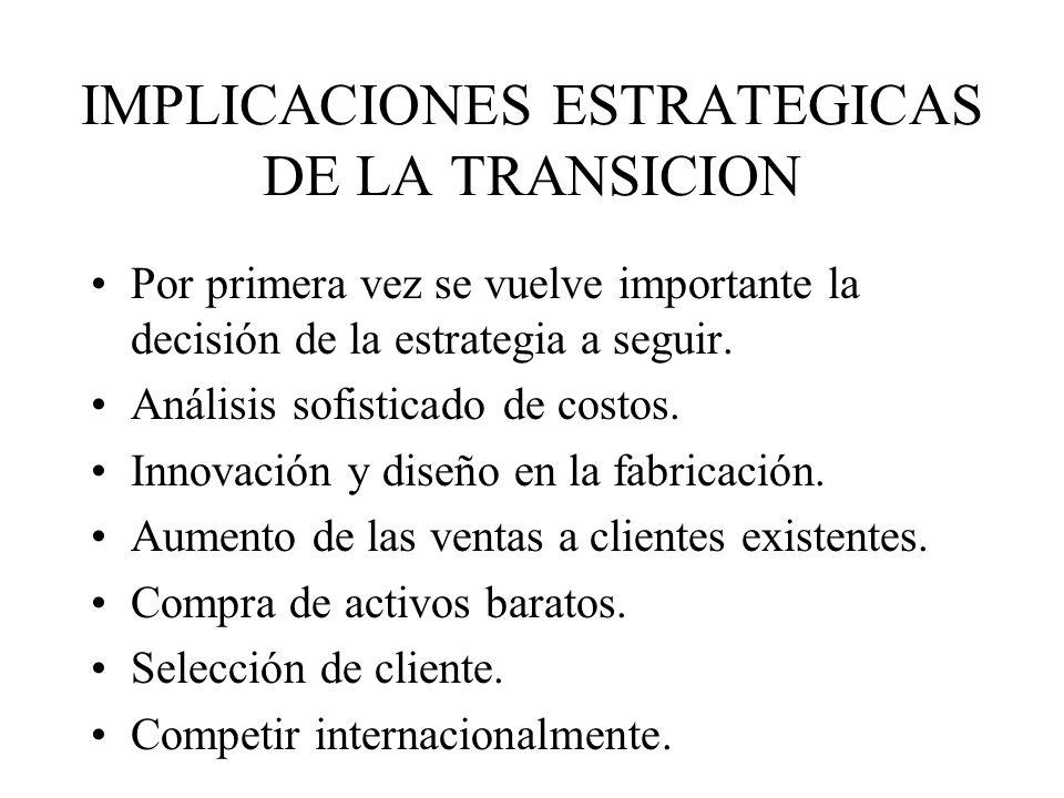 IMPLICACIONES ESTRATEGICAS DE LA TRANSICION