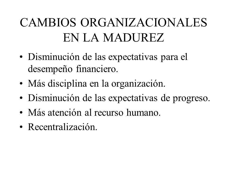 CAMBIOS ORGANIZACIONALES EN LA MADUREZ