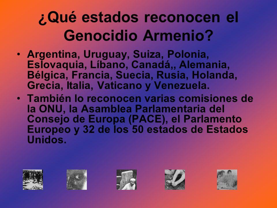 ¿Qué estados reconocen el Genocidio Armenio