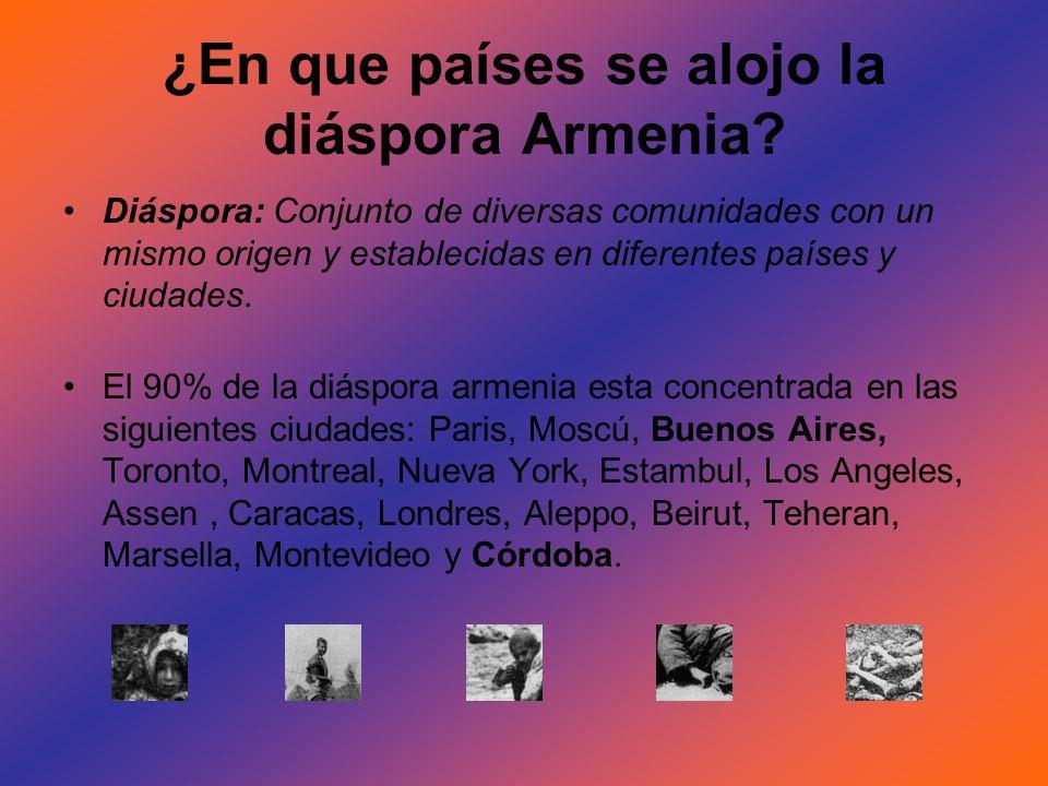 ¿En que países se alojo la diáspora Armenia