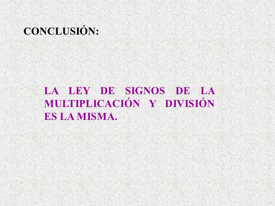 CONCLUSIÓN: LA LEY DE SIGNOS DE LA MULTIPLICACIÓN Y DIVISIÓN ES LA MISMA.