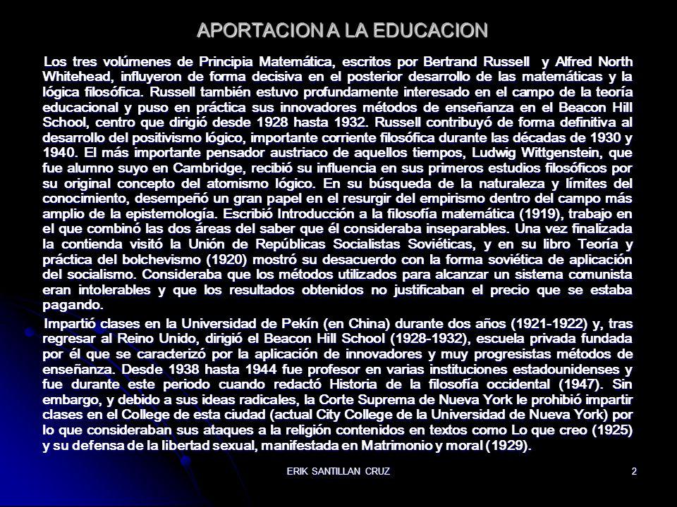 APORTACION A LA EDUCACION