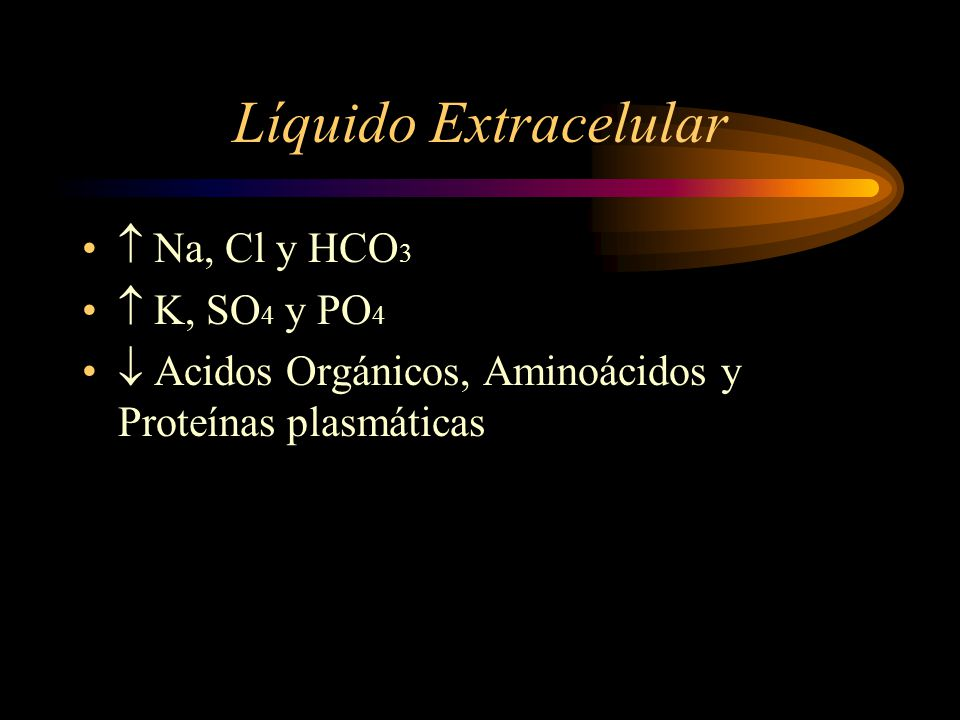 Líquido Extracelular  Na, Cl y HCO3  K, SO4 y PO4