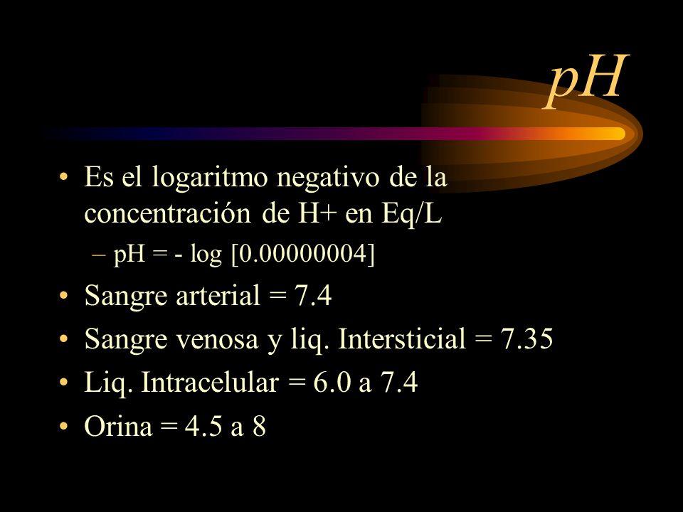 pH Es el logaritmo negativo de la concentración de H+ en Eq/L