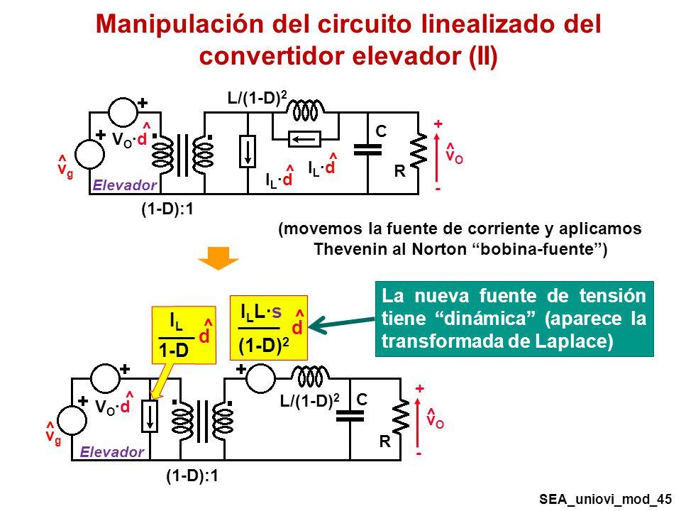 Manipulación del circuito linealizado del convertidor elevador (II)