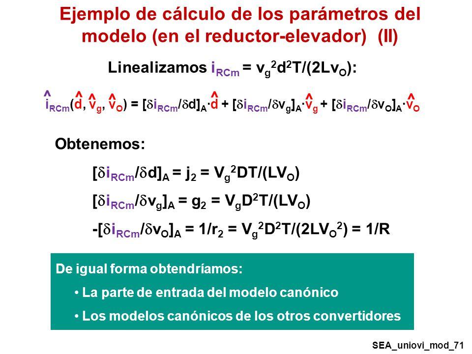 Ejemplo de cálculo de los parámetros del modelo (en el reductor-elevador) (II)