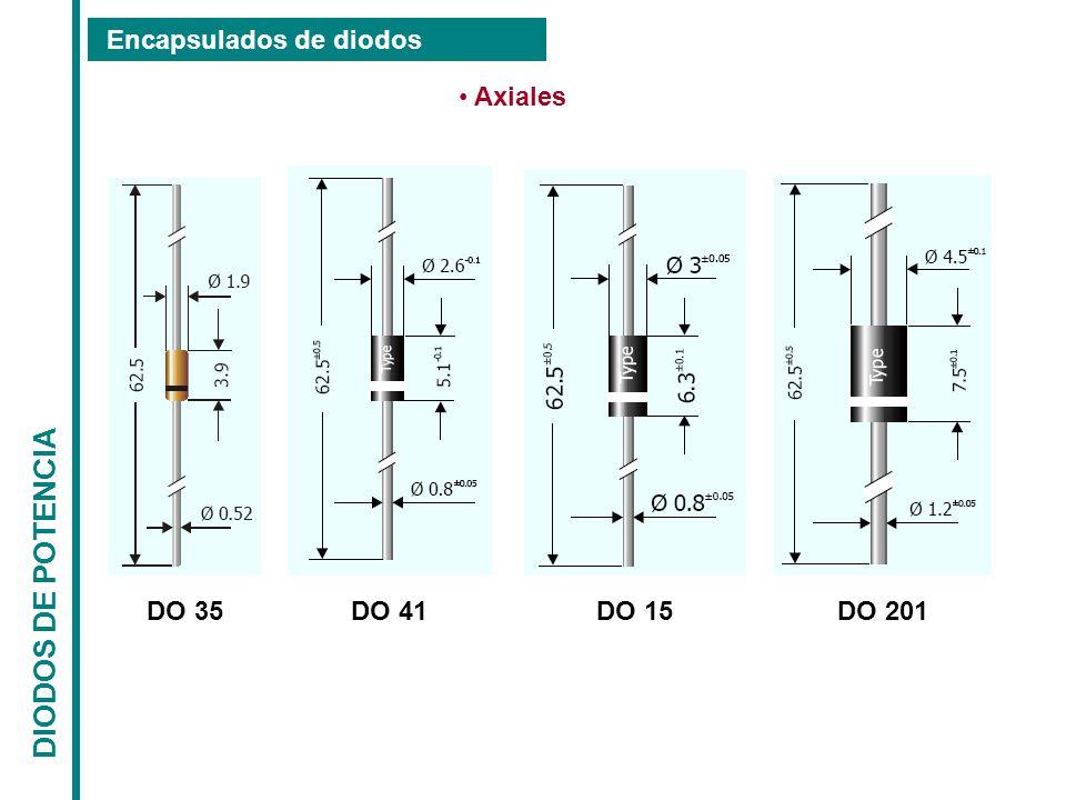 DIODOS DE POTENCIA Encapsulados de diodos Axiales DO 41 DO 15 DO 35