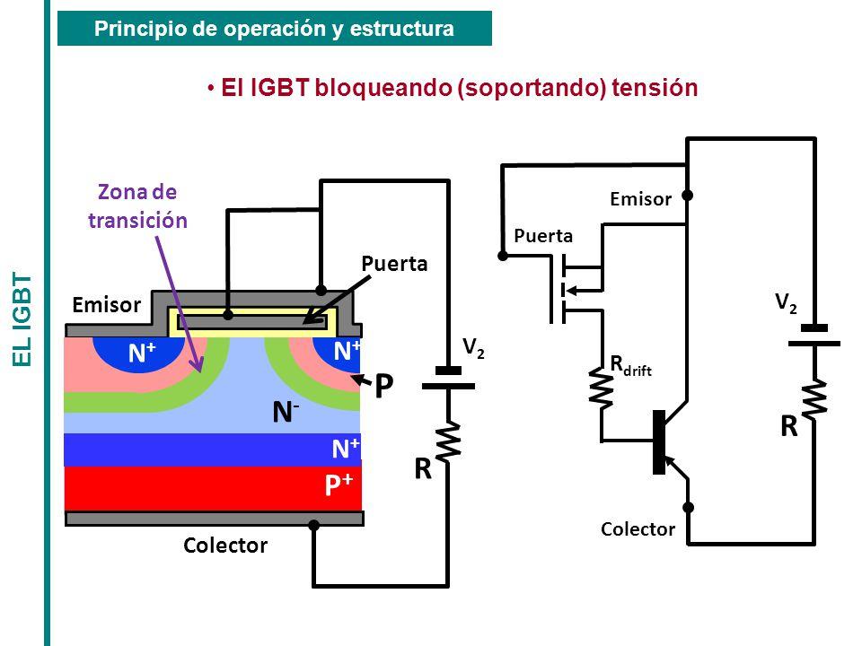 P N- R R P+ N+ N+ N+ El IGBT bloqueando (soportando) tensión