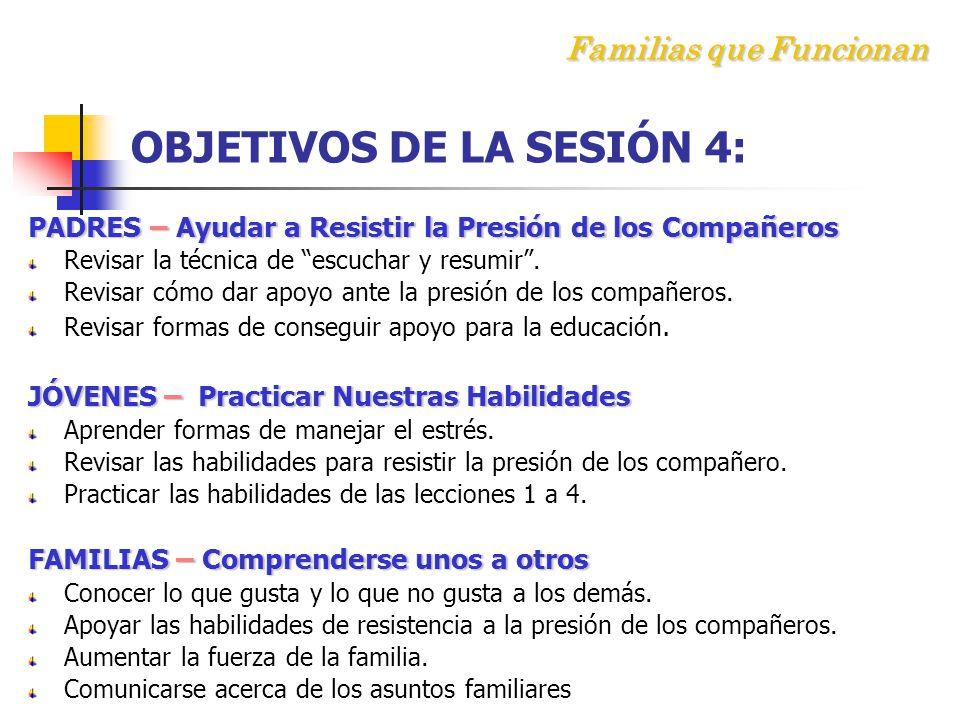 Familias que Funcionan OBJETIVOS DE LA SESIÓN 4: