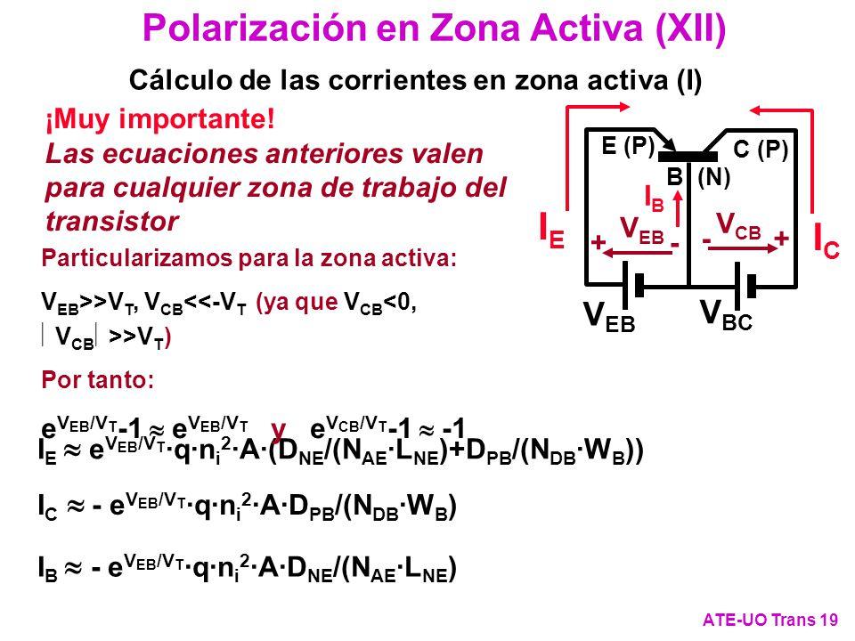 Cálculo de las corrientes en zona activa (I)