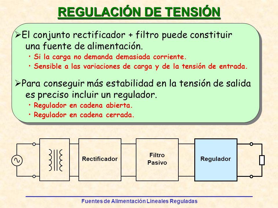 REGULACIÓN DE TENSIÓN El conjunto rectificador + filtro puede constituir. una fuente de alimentación.