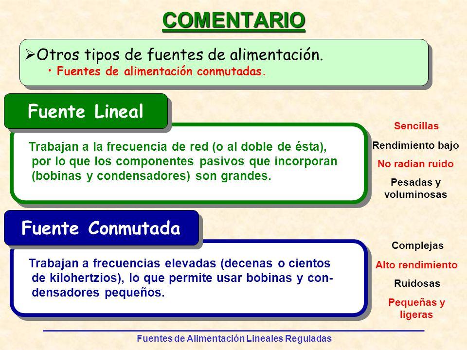 COMENTARIO Fuente Lineal Fuente Conmutada