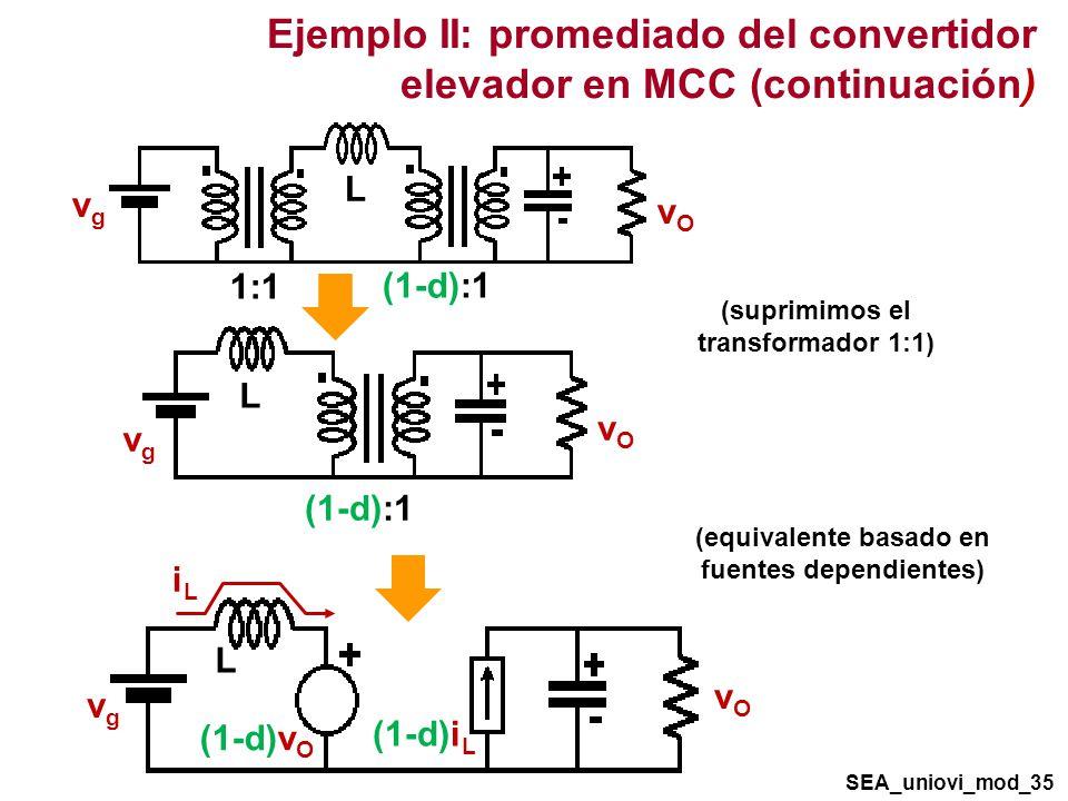 Ejemplo II: promediado del convertidor elevador en MCC (continuación)