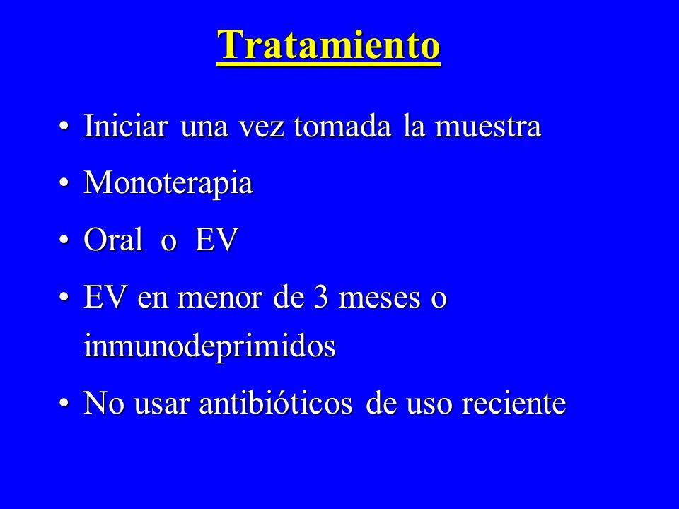 Tratamiento Iniciar una vez tomada la muestra Monoterapia Oral o EV
