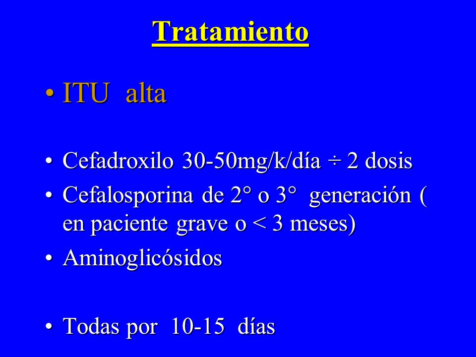 Tratamiento ITU alta Cefadroxilo 30-50mg/k/día ÷ 2 dosis