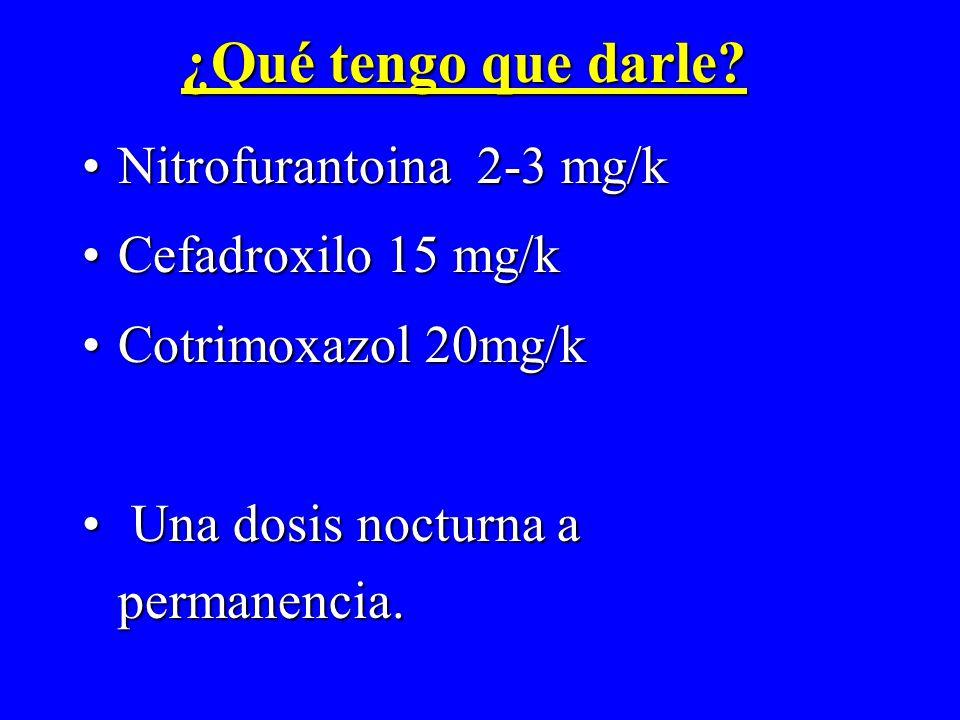 ¿Qué tengo que darle Nitrofurantoina 2-3 mg/k Cefadroxilo 15 mg/k