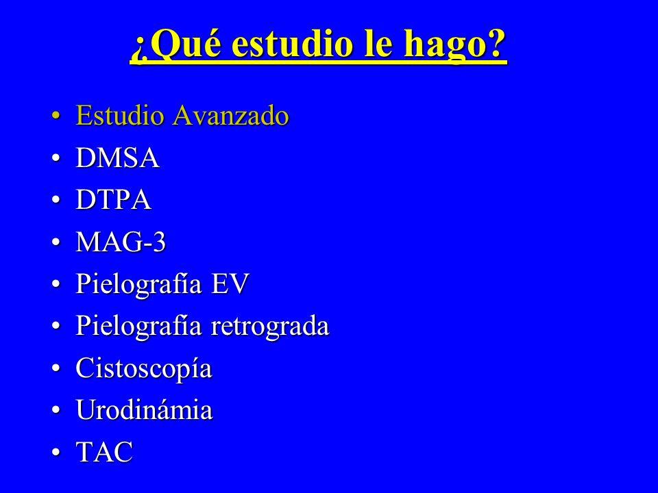 ¿Qué estudio le hago Estudio Avanzado DMSA DTPA MAG-3 Pielografía EV