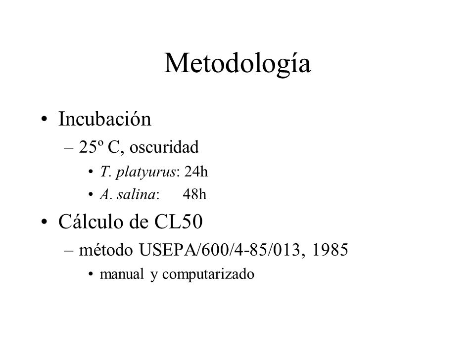 Metodología Incubación Cálculo de CL50 25º C, oscuridad
