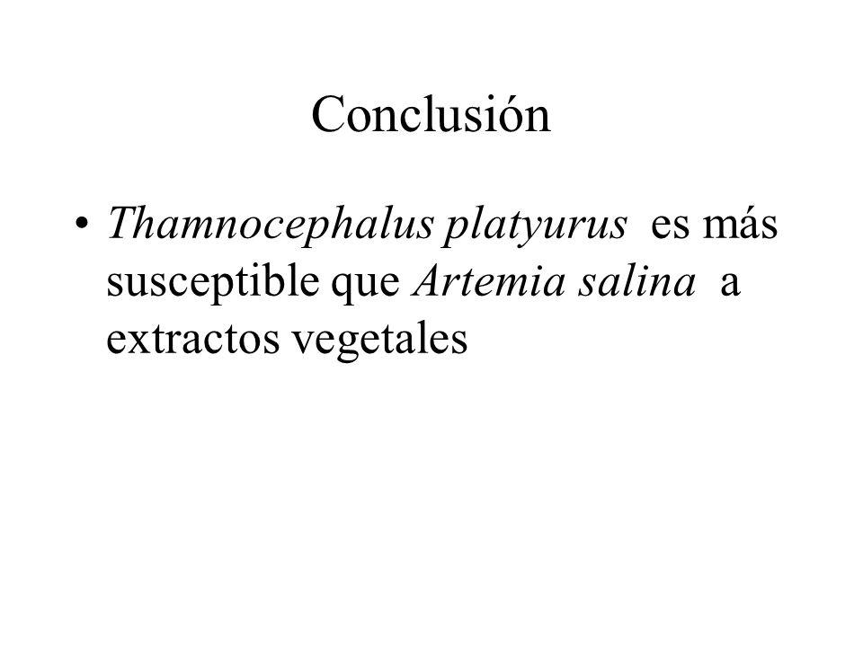 Conclusión Thamnocephalus platyurus es más susceptible que Artemia salina a extractos vegetales