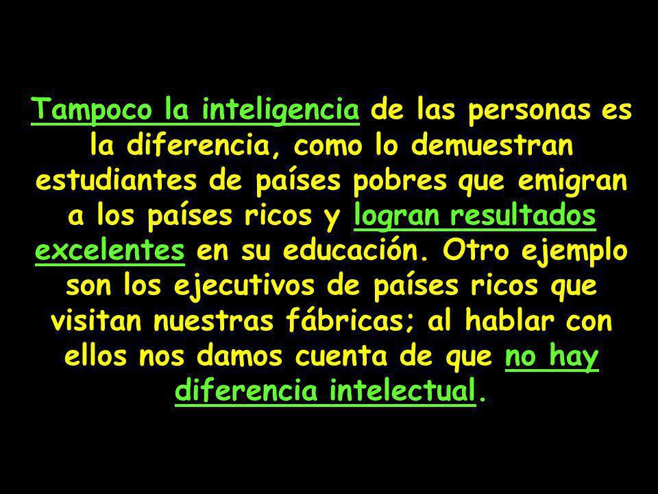 Tampoco la inteligencia de las personas es la diferencia, como lo demuestran estudiantes de países pobres que emigran a los países ricos y logran resultados excelentes en su educación.