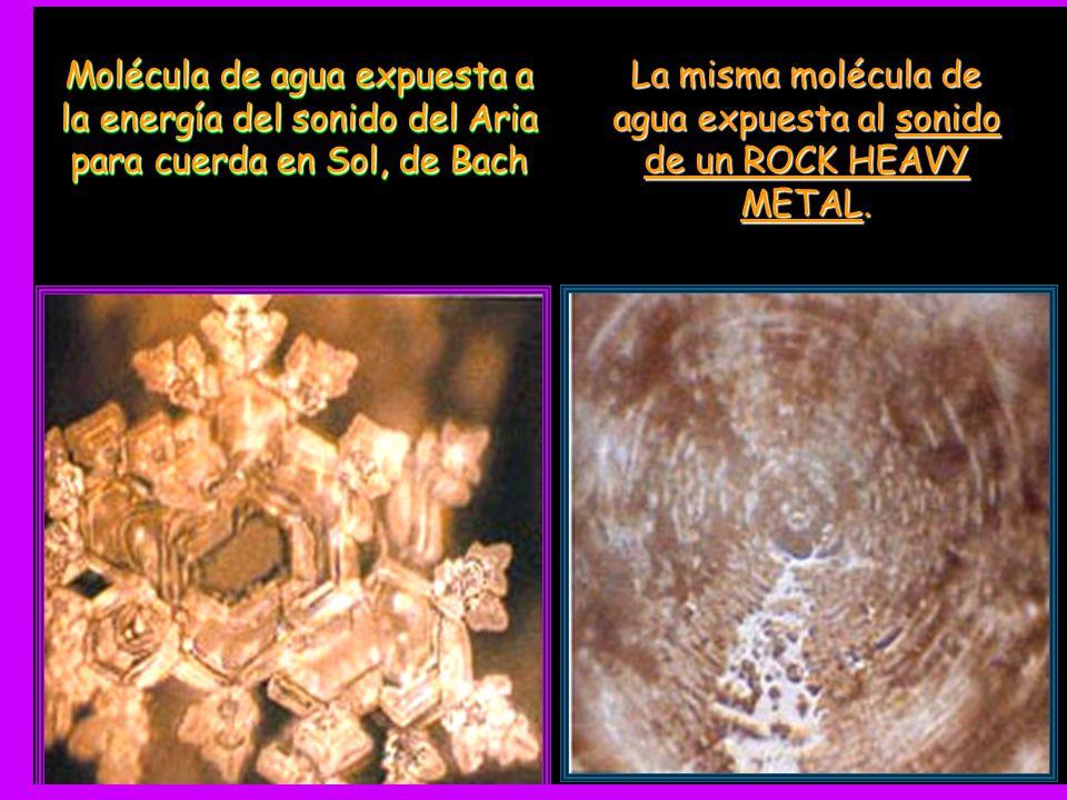 La misma molécula de agua expuesta al sonido de un ROCK HEAVY METAL.