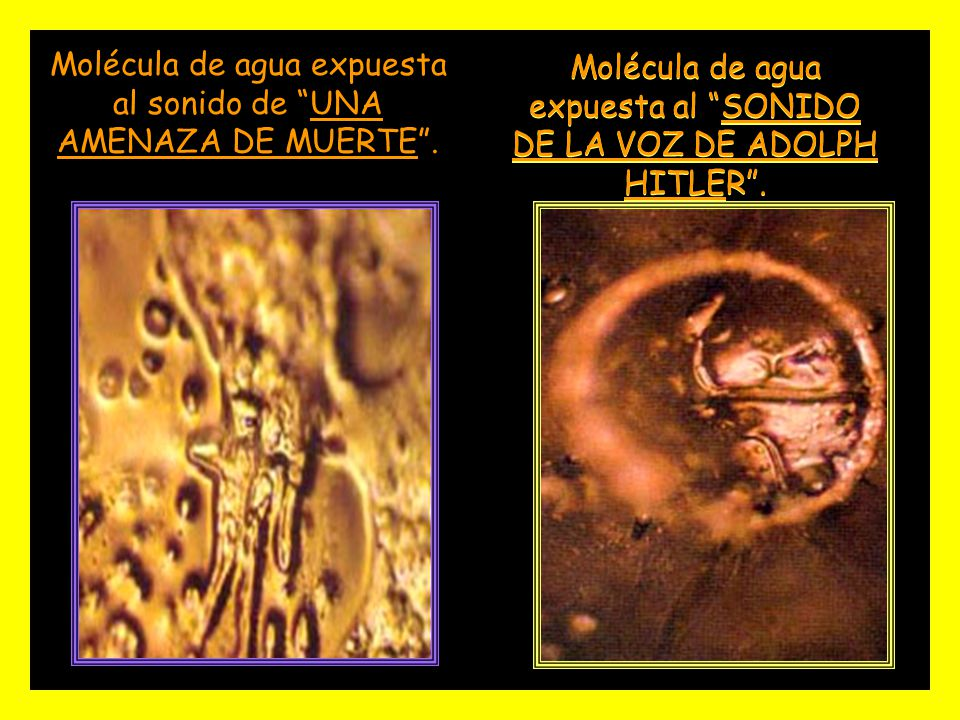 Molécula de agua expuesta al sonido de UNA AMENAZA DE MUERTE .
