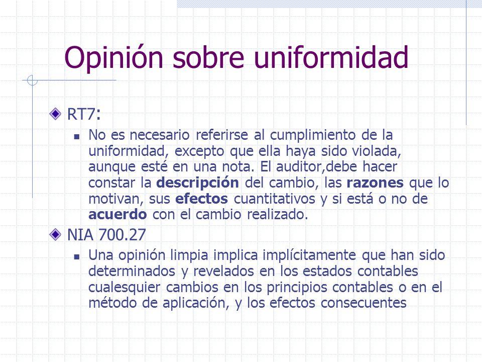 Opinión sobre uniformidad