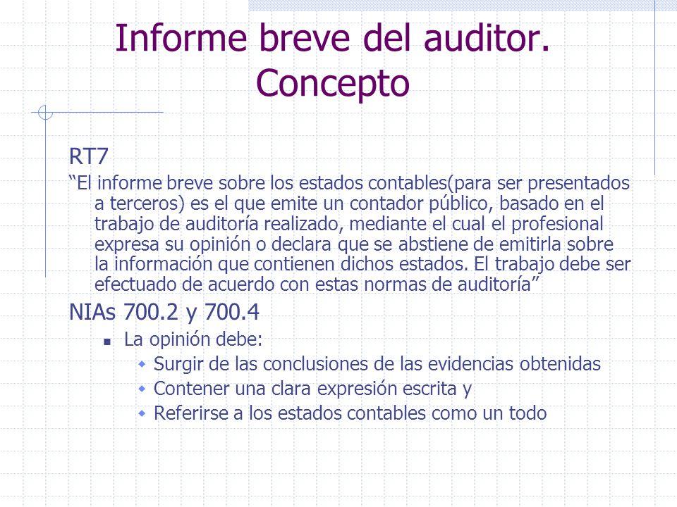 Informe breve del auditor. Concepto