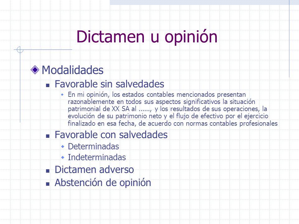 Dictamen u opinión Modalidades Favorable sin salvedades