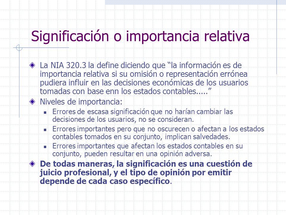 Significación o importancia relativa