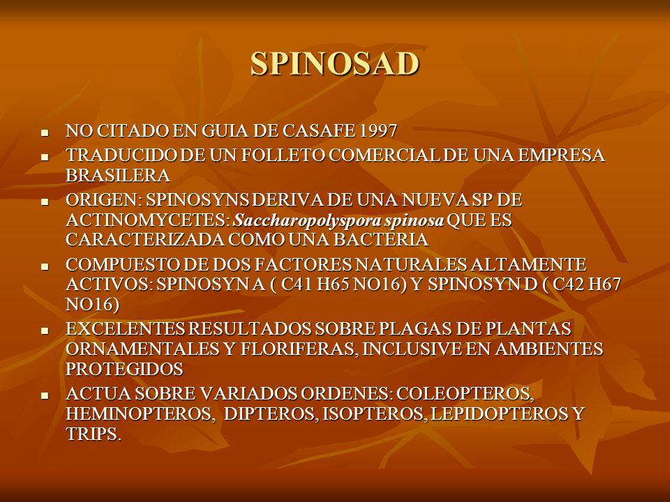 SPINOSAD NO CITADO EN GUIA DE CASAFE 1997