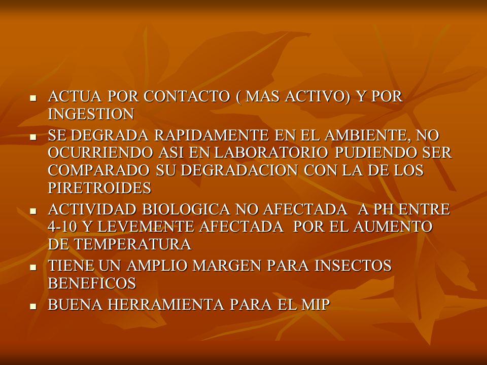 ACTUA POR CONTACTO ( MAS ACTIVO) Y POR INGESTION