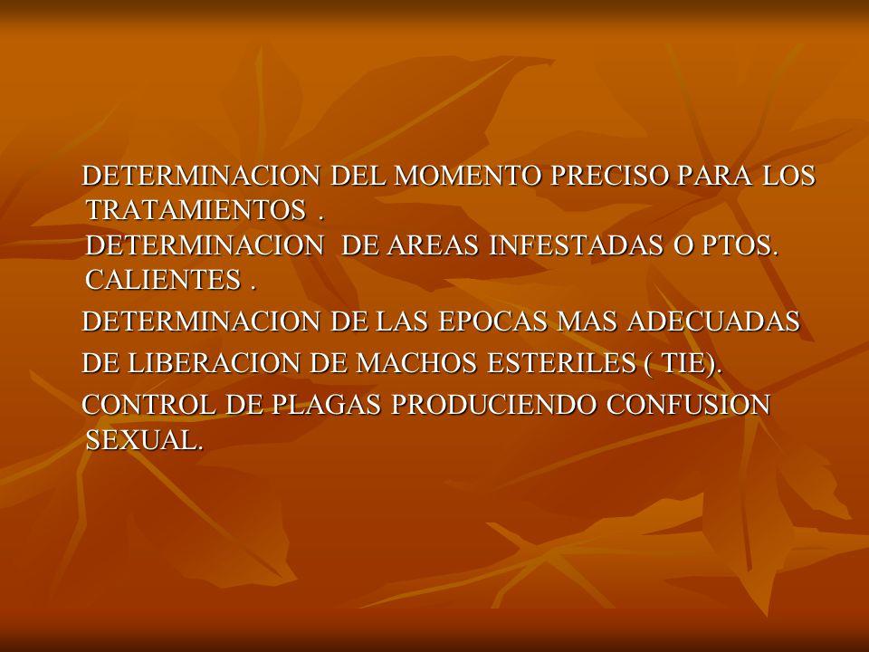 DETERMINACION DEL MOMENTO PRECISO PARA LOS TRATAMIENTOS