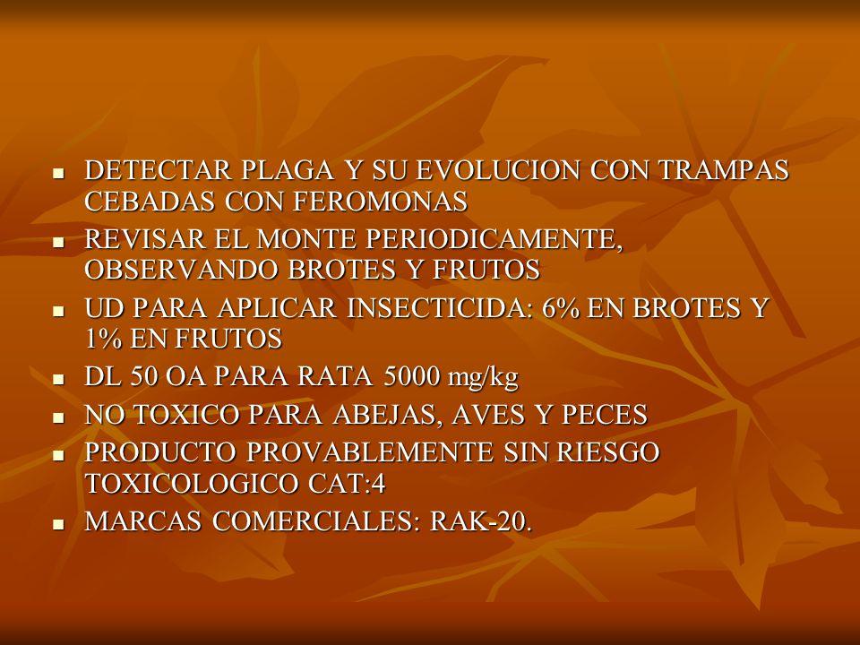 DETECTAR PLAGA Y SU EVOLUCION CON TRAMPAS CEBADAS CON FEROMONAS