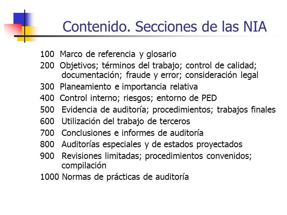 Contenido. Secciones de las NIA