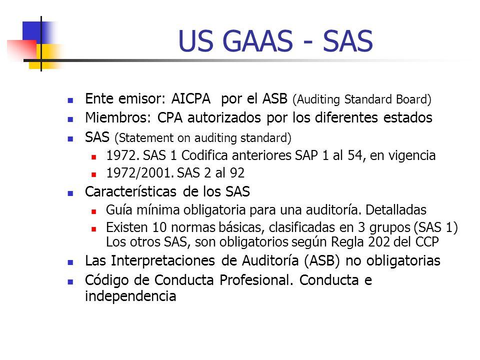 US GAAS - SAS Ente emisor: AICPA por el ASB (Auditing Standard Board)