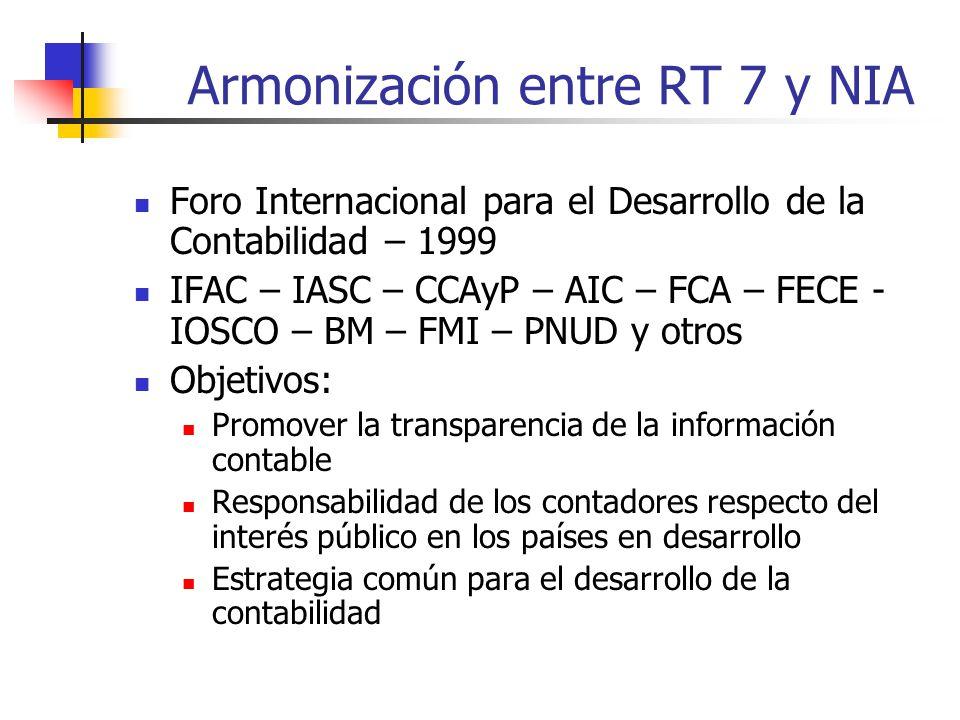Armonización entre RT 7 y NIA