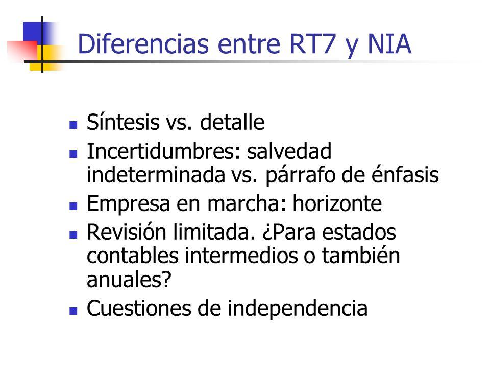 Diferencias entre RT7 y NIA