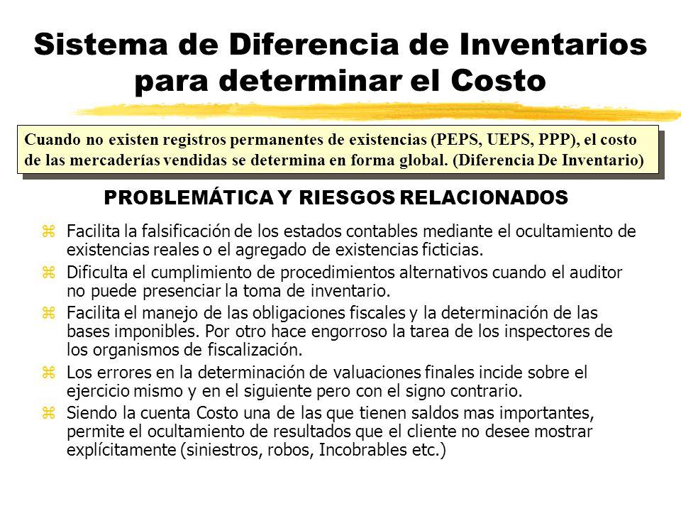 Sistema de Diferencia de Inventarios para determinar el Costo