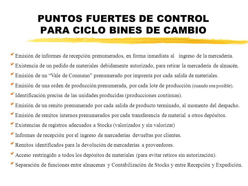 PUNTOS FUERTES DE CONTROL PARA CICLO BINES DE CAMBIO