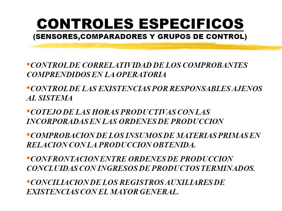 CONTROLES ESPECIFICOS (SENSORES,COMPARADORES Y GRUPOS DE CONTROL)