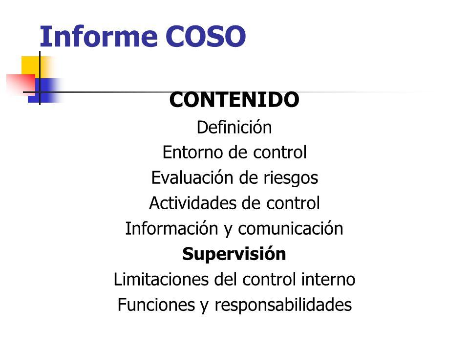 Informe COSO CONTENIDO Definición Entorno de control
